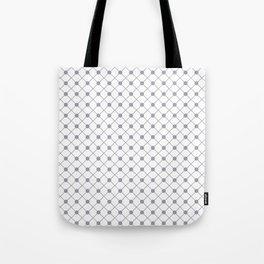 Pantone Lilac Gray Thin Line Stripe Grid (Pinstripe) and Polka Dots on White Tote Bag