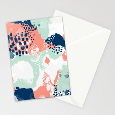 Bristol - acrylic painting abstract navy mint coral modern color palette Stationery Cards
