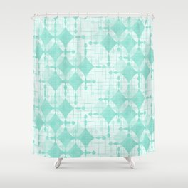 Lucky Diamonds in Aqua Shower Curtain