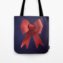 Big red glitter bow ribbon on the blue Tote Bag