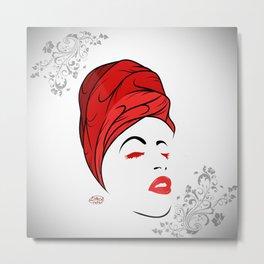 Lady Wrap (Red) Metal Print