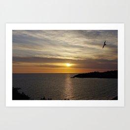 Sunset over the sea of Gaeta Art Print
