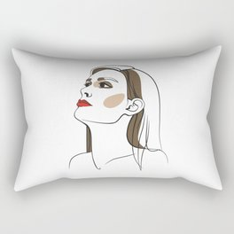 Woman with long hair and red lipstick. Abstract face. Fashion illustration Rectangular Pillow