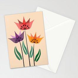 Retro tulips Stationery Cards