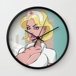 sexy nurse hospital toon anime hentai girl big boobs lips hot party blonde nipples secret agent joke Wall Clock