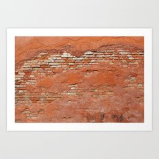 Orange Brick Wall Art Print