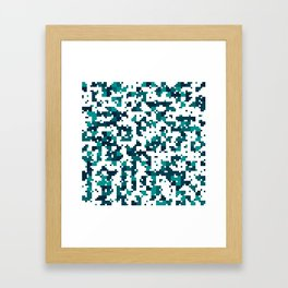 Take me to the bottom of the ocean - Random Pixel Pattern in shades of blue green Framed Art Print