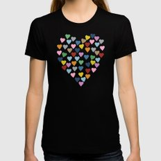 Hearts Heart LARGE Black Womens Fitted Tee
