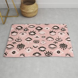 Mystic Eyes – Blush & Black Palette Rug