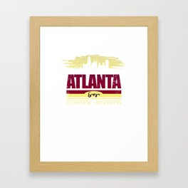 Atlanta, Geogia Gifts  Distressed Coordinates Framed Art Print