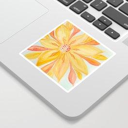 Sunburst Yellow and Orange Abstract Watercolor Flower Sticker