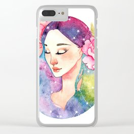 Unearthly supernatural girl with space in the hair. Virgo constellation. Clear iPhone Case