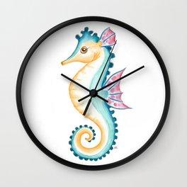 Seahorse Teal Wall Clock