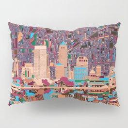 indianapolis city skyline purple Pillow Sham