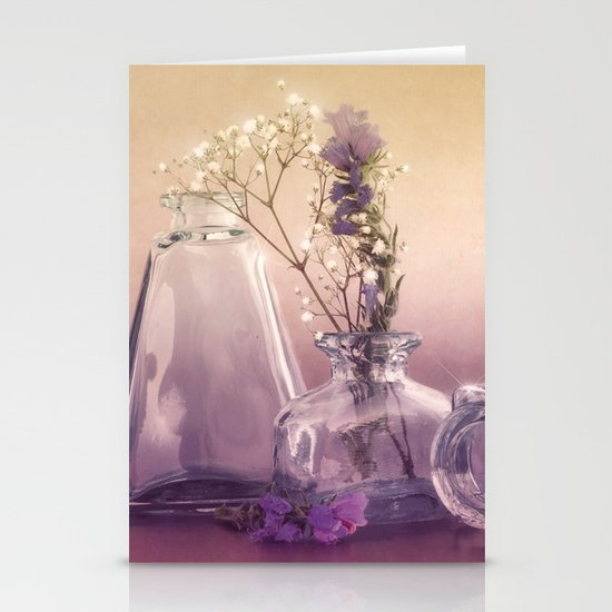 STILL LIFE with purple glass vases and flowers Stationery Cards