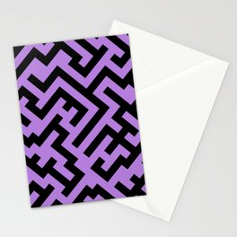 Black and Lavender Violet Diagonal Labyrinth Stationery Cards