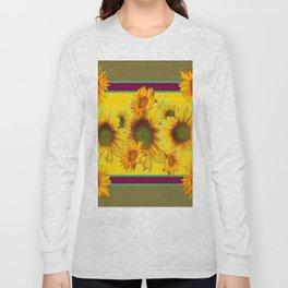 Olive Green Sunflowers Pattern Burgundy Color Floral Art Long Sleeve T-shirt