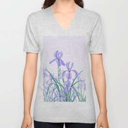 purple iris watercolor Unisex V-Neck