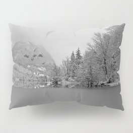 Partly Frozen Lake Bohinj Mono Pillow Sham