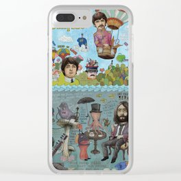 Lonely Hearts, Rubber Soul & Magical Yellow Submarine Tour Clear iPhone Case