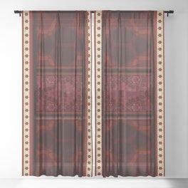 Multi Red Cream Geo Pattern Sheer Curtain