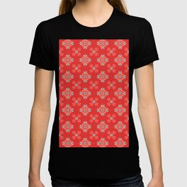 Red Background with Coral and Aqua Flower Pattern T-shirt