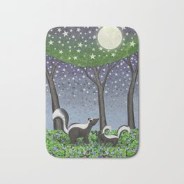 starlit striped skunks Bath Mat