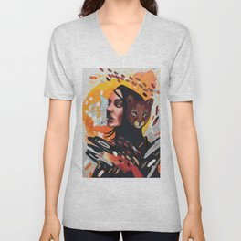 The Big Bang expressionism portrait of a girl with puma mask and cigarette Unisex V-Neck