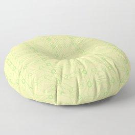 Yellow-Green Spiro Pattern Floor Pillow
