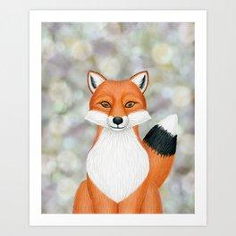 fox woodland animal portrait Art Print