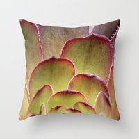 succulent Throw Pillows featuring Succulent by Shy Photog