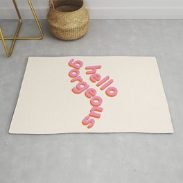 Hello Gorgeous, a beautiful typography design Rug