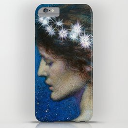 Woman with Luminous Diadems & Stars of Heaven female portrait painting by Edward Robert Hughes iPhone Case