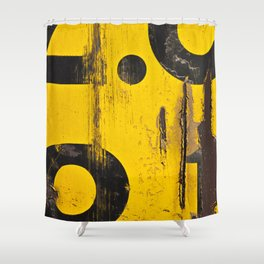 black numbers on yellow background Shower Curtain