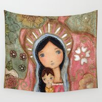 madonna Wall Tapestries featuring Madonna of the Flowers by Flor Larios by Flor Larios Art