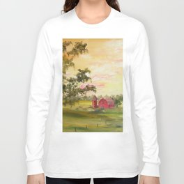 Red Barn, Farm Painting, by Faye Long Sleeve T-shirt