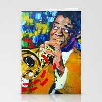 louis armstrong Stationery Cards featuring Louis Armstrong by Phil Fung
