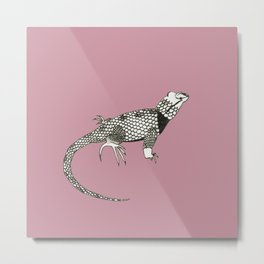 Black and White Lizard Metal Print