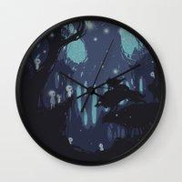 kodama Wall Clocks featuring kodama Spirit by Robson Borges