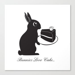 Bunnies Love Cake, Bunny Illustration, cake lovers, animal lover gift Canvas Print