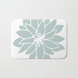 Flower Forest Fern Green on White Bath Mat