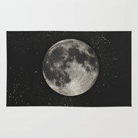 science Area & Throw Rugs featuring The Moon  [Sans Type] by Heather Landis