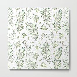 Hand painted forest green white watercolor leaves floral Metal Print