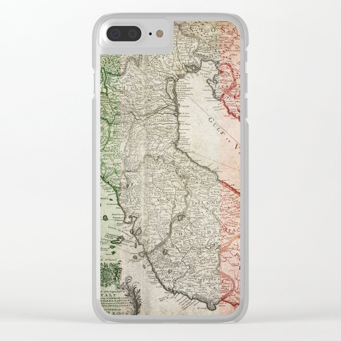 Clear Map Of Italy.Vintage Map Of Italy Clear Iphone Case By Piplulu