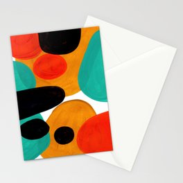 Mid Century Modern Abstract Minimalist Retro Vintage Style Rolie Polie Olie Bubbles Teal Orange Stationery Cards