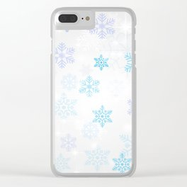 Christmas Winter Snowflakes Silver Blue Pattern Clear iPhone Case