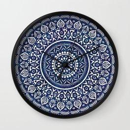 Blue and White Mandala - LaurensColour Wall Clock