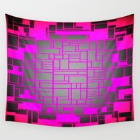 computer Wall Tapestries featuring Pink & Gray Computer by PureVintageLove