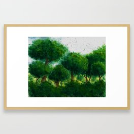 watercolor forest Framed Art Print