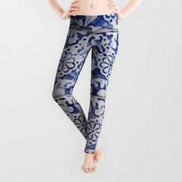 Portuguese Tiles - Azulejo Blue and White Floral Leaf Design Leggings